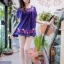 Molly เสื้อลายปักดอกไม้หลากสี สไตล์วินเทจ thumbnail 7