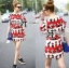 Lady Ribbon Lady Olive Playful Graphic Print Mini Dress thumbnail 2