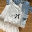 Lady Ribbon Crystal Embellished Insert Lace Denim Set thumbnail 8