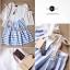 Lady Ribbon ชุดเซ็ทเสื้อกระโปรงสีฟ้าสลับขาว แขนเสื้อแหวก ผูกโบว์ thumbnail 11