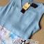 Lady Ribbon Roman Print Dress in Baby Blue thumbnail 7