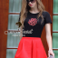 Seoul Secret ชุดเซ็ทเสื้อปักดอกไม้ กางเกงสีแดง thumbnail 2