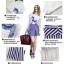 ชุดเซ็ท เสื้อ กระโปรงผ้าชีฟองพิมพ์ลายทาง สีน้ำเงิน thumbnail 1