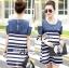 Lady Ribbon Casual Style Cut-Out Denim Striped Dress thumbnail 4