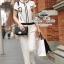 Chanel black&white line jumpsuit จั๊มสูทขายาว สีขาวดำ thumbnail 1