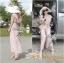 Lady Ribbon จั๊มสูทขายาว ผ้าคอตตอนซิลค์ หลังไขว้ สีชมพู สีเทา thumbnail 9