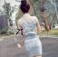 Lady Ribbon Flower Embellished Denim Shirt Dress with Belt thumbnail 2