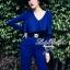 Lady Ribbon จั๊มสูทขายาวสีน้ำเงิน สีดำ ช่วงอกจีบระบาย thumbnail 1