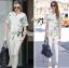 Lady Ribbon Marble Chiffon Top and White Leggings Set thumbnail 2
