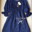 Lady Ribbon Dolly Mini Dress เดรสสีกรมท่า เเขนตุ๊กตา thumbnail 11