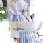 Lady Ribbon ชุดเซ็ทเสื้อกระโปรงสีฟ้าสลับขาว แขนเสื้อแหวก ผูกโบว์ thumbnail 3
