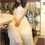 Lady Ribbon Vintage Dress แม็กซี่เดรสผ้าซิลค์ซาตินผสมผ้าลูกไม้ สีชมพู สีครีม thumbnail 3