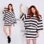 Stripe Jersey Mini Skirt Set เซ็ตเสื้อ กระโปรง ลายขวางขาวดำ thumbnail 9
