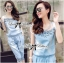 Lady Ribbon Crystal Embellished Denim Ensemble Set thumbnail 3