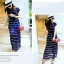 Maxi Dress เดรสยาวผ้าชีฟอง พิมพ์ลายขวาง สีน้ำเงิน สีขาว thumbnail 5