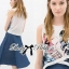 Lady Ribbon Graphic Print Crop Top and Denim Midi Skirt Set thumbnail 4