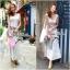 Lady Ribbon Striped Maxi Dress เดรสยาวแขนกุด ลายทางทรงบอดี้คอน thumbnail 2