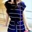 Maxi Dress เดรสยาวผ้าชีฟอง พิมพ์ลายขวาง สีน้ำเงิน สีขาว thumbnail 13
