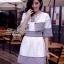Lady Ribbon ชุดเซ็ตเสื้อนอก พร้อมเดรสเกาะอก ผ้าทวีทขาวดำ thumbnail 2