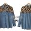 Lady Ribbon Leopard Denim Shirt เสื้อเชิ้ตยีนส์ ช่วงไหล่ชีฟองลายเสือ thumbnail 5