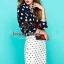 Seoul Secret ชุดเซ็ท เสื้อเชิ้ตลายหัวใจ กระโปรงผ้าลูกไม้ ทอลายดอกไม้ thumbnail 4