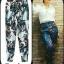 กางเกงแฟชั่นสไตล์ไฮแบรนด์ กางเกงเอวสูง พิมพ์ลายดอกไม้ thumbnail 1