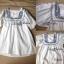 Lady Ribbon เสื้อตัวยาวปักครอสติส แขนตุ๊กตา สีขาว สีกรมท่า thumbnail 12