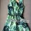 Lady Ribbon Green Leaf Jumpsuit จั๊มสูทขาสั้น พร้อมเข็มขัด thumbnail 3