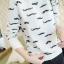 เสื้อแขนยาว ผ้า Cotton พิมพ์ลายหนวด Mustache สีขาว สีเทา thumbnail 8
