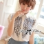 Lady Ribbon Embroidered Laser-Cut Shirt-Sleeved Shirt thumbnail 1