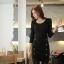 Little Black Dress by Cherry KOKO เดรส ผ้าเนื้อผสมลายตาราง แต่งกระดุมเก๋ๆ thumbnail 2
