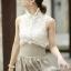 Lady Ribbon Vintage Set เสื้อแขนกุดผ้าแก้วลายลูกไม้กับกระโปรงบาน thumbnail 4