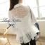 Lady Ribbon เสื้อผ้าแก้วทรงเชิ้ต ปักดอกไม้ สีขาว / สีดำ thumbnail 4