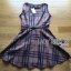 Lady Ribbon British Check Printed Beige Dress thumbnail 8