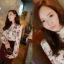เสื้อแขนยาว ผ้าชีฟอง สีเบจ พิมพ์ลายดอกไม้ thumbnail 2