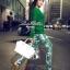 Lady Ribbon Green Knit Leaf Print Set เซ็ตเสื้อพร้อมกางเกง thumbnail 1