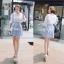 Lady Ribbon ชุดเซ็ทเสื้อกระโปรงสีฟ้าสลับขาว แขนเสื้อแหวก ผูกโบว์ thumbnail 1