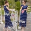 Lady Ribbon White Stripe Pleatpleats Maxi thumbnail 6