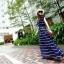 Maxi Dress เดรสยาวผ้าชีฟอง พิมพ์ลายขวาง สีน้ำเงิน สีขาว thumbnail 6