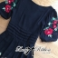 Lady Ribbon Floral Embroidered Draping Chiffon Dress thumbnail 7