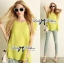 Lady Ribbon Chic Lemon Blouse and Pattern Pants Set thumbnail 3