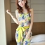 จั๊มสูทขายาว ผ้าชีฟองลายดอกไม้ มีผ้าผูกโบว์ สีเขียว / สีชมพู thumbnail 6
