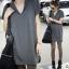เสื้อตัวยาว คอวี แต่งปกเสื้อ สีดำ สีเทา thumbnail 2