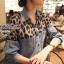 Lady Ribbon Leopard Denim Shirt เสื้อเชิ้ตยีนส์ ช่วงไหล่ชีฟองลายเสือ thumbnail 2
