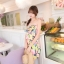 Mayuki Minidress ปาร์ตี้เดรส เกาะอก เอวยางยืด ผ้าชีฟอง ลายดอกสีแซ่บ thumbnail 2