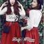 Lady Ribbon Set ชุดเซ็ทเสื้อผ้าลูกไม้สีขาวและกระโปรงสีแดงเบอร์กันดี thumbnail 2
