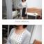 เดรสผ้าชีฟองลายจุด ตัดต่อผ้าสีพื้นช่วงกระโปรง ผูกโบว์ที่เอว thumbnail 6