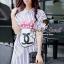 Stripy CC Bow Print Dress Shirt by Seoul Secret thumbnail 2
