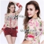 Lady Ribbon Floral Silk-Chiffon Crop Top thumbnail 3