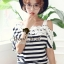 Seoul Secret Cool Stripy Top Shoulder Oblique Lace thumbnail 3